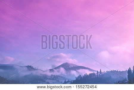Majestic foggy forest and mountain peak. Dramatic and picturesque sunrise pink blue sky. Carpathians, Ukraine, Europe. Beauty worldmountain landscape. Exploring beauty world