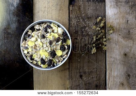 grains put on wood background it is  food for your healthy