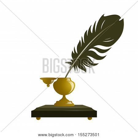 Ancient inkwell with a feather isolated on white.