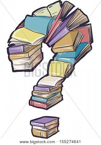 Conceptual Illustration Featuring a Large Collection of Books Forming the Shape of a Question Mark
