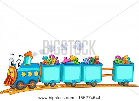 Education Themed Border Illustration Featuring a Locomotive Train Mascot Transporting Colorful Numbers