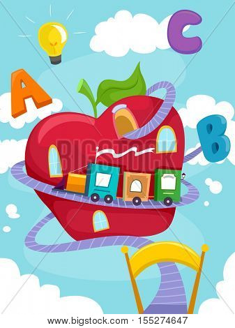 Education Themed Illustration Featuring a Toy Train Made of Building Blocks Circling Around a Giant Apple