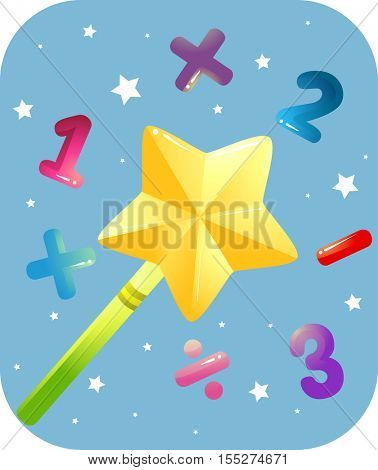 Education Themed Illustration Featuring a Golden Magic Wand Surrounded by Numbers and Mathematical Symbols
