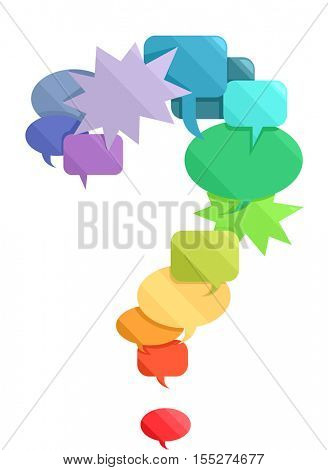 Conceptual Illustration of a Large Question Mark Decorated with Colorful Speech Bubbles