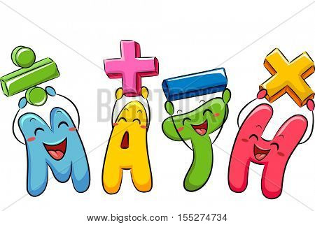 Education Themed Illustration Featuring Colorful Mathematical Symbol Mascots