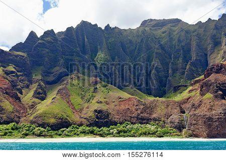view at magnificent na pali coast from the water kauai island hawaii