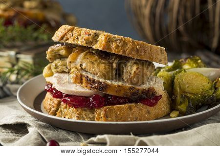 Homemade Thanksgiving Leftover Turkey Sandwich