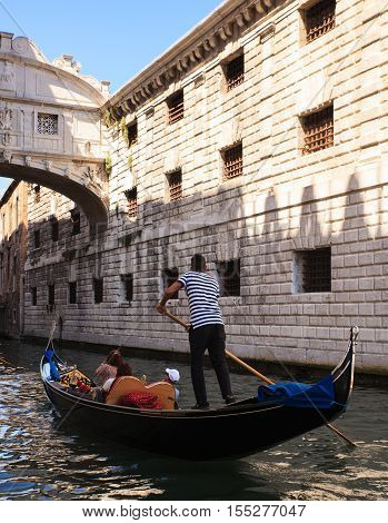 VENICE ITALY - JUNE 06: View of Bridge of Sighs on June 06 2016