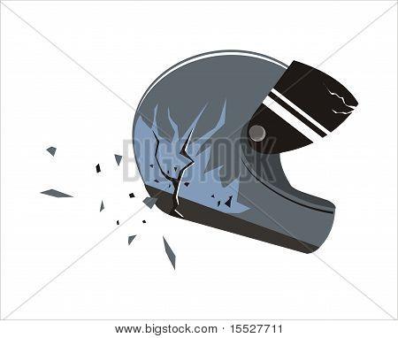 Motorcycle helmet crashed