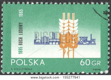 MOSCOW RUSSIA - OCTOBER 2016: a post stamp printed in POLAND dedicated to the 70th Anniversary of the Peasant Movement circa 1965