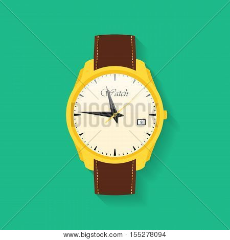 Icon of wrist watch. Symbol of hand clock. Vector illustration of timepiece, chronometer. Vector illustration
