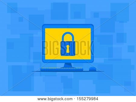 Computer antivirus protection vector illustration. Computer with lock sign on the blue background. Data security technology graphic design. Firewall software to protect your privacy creative concept.