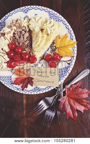 Happy Thanksgiving Table With Cherry, Apple And Chocolate Cream Pie