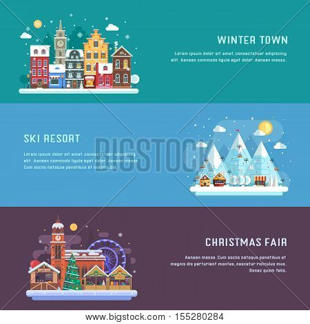 New Year banners with winter travel destinations. Europe snow town, Christmas market and alps mountain ski resort. Winter landscapes in flat design. New Year holidays and vacation concept backgrounds.