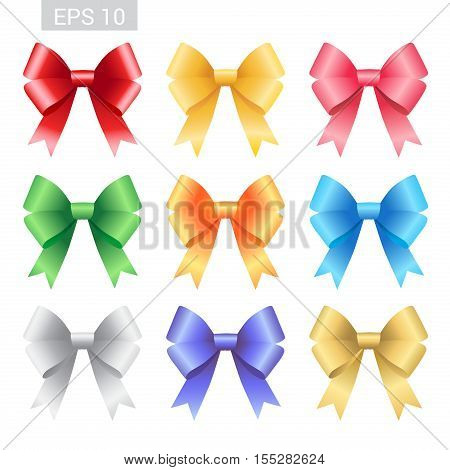 Set of colorful ribbon tied bows in vector format for gift card greeting card or thank you card and other decoration