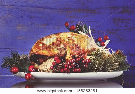 Scrumptious Roast Turkey Chicken On Platter