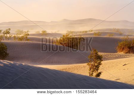 Mesquite Flat Sand Dunes During Sand Storm, Death Valley National Park, California
