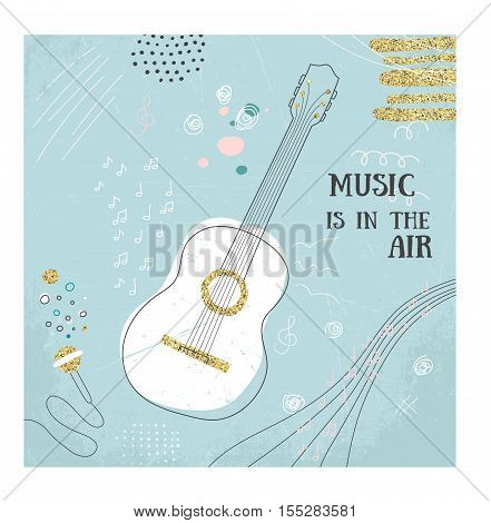 Abstract music guitar hand drawin card. Doodle vector illustration. Graphic poster, cover sketch, style. Modern cute background. Sound concept. Invitation, packaging element. Music is in the air