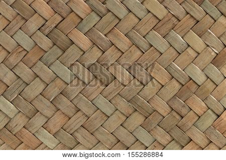 Traditional Thai Style Pattern Nature Background Of Brown Handicraft Weave Texture Bamboo Surface Fo