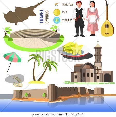 Set of Cyprus symbols and landmarks. Flat vector illustrations. Country symbols: map, Church Saint Lazarus, Paphos Park and Kyrenia Castle, cypriots and bouzouki, sea beach, umbrella and palm trees.