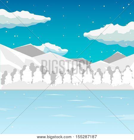 Winter. Sea And Mountain Landscape, Neverending Vector Illustration, Cartoon Background For Game Des