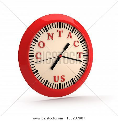 CONTACT US on clock dial with clipping path.