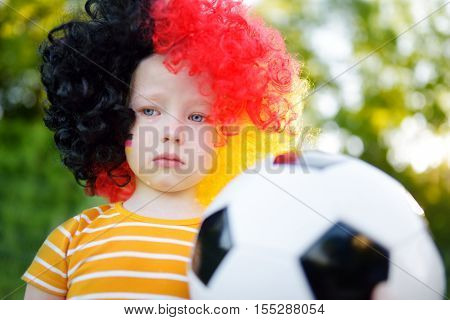 Sad Little German Child Crying Over Her National Football Team's Loss