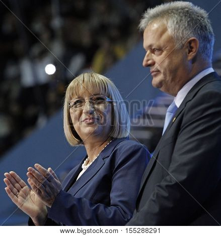 SOFIA BULGARIA - OCTOBER 9: GERB's presidential and vice-presidential candidates Tsetska Tsacheva and Plamen Manushev are smiling during launching 2016 Presidential Campaign Oct 9 2016 Sofia Bulgaria.