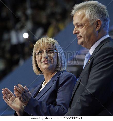 SOFIA BULGARIA - OCTOBER 9: GERB's presidential and vice-presidential candidates Tsetska Tsacheva and Plamen Manushev are smiling during launching 2016 Presidential Campaign Oct 9 2016 Sofia Bulgaria.