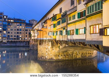 Ponte Vecchio and the Arno river in Florence, Tuscany, Italy