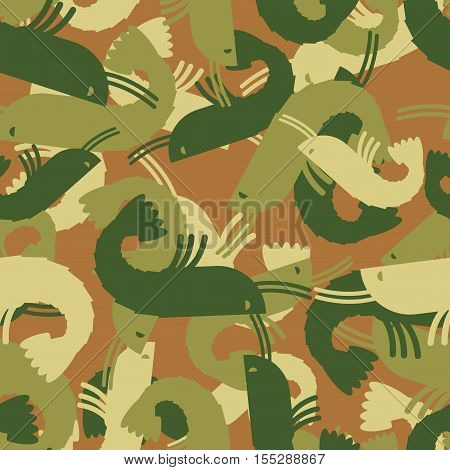 Military texture shrimp. plankton Army seamless pattern. Protective camouflage marine animals for clothing soldiers