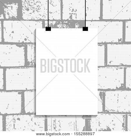White Empty Poster Mockup On Bg Wall Bricks