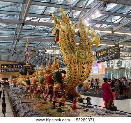 Suvarnabhumi Airport Interior, Bangkok, Thailand