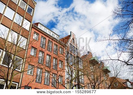 Bremen, Germany - March 23, 2016: Historic Facades Of Houses On Embankment Of Weser River In Bremen,