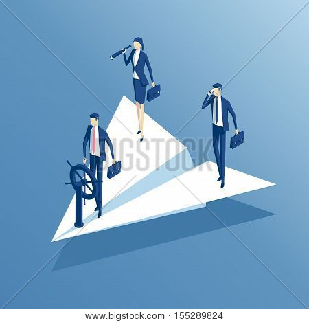 isometric business people flying in paper airplane business team and leadership concept vector illustration