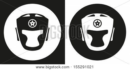 Boxing helmet icon. Silhouette boxing helmet on a black and white background. Sports Equipment. Vector Illustration.