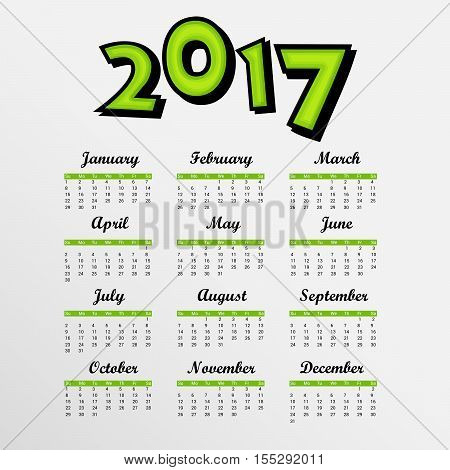 illustration of a Template with a calendar for 2017 for design