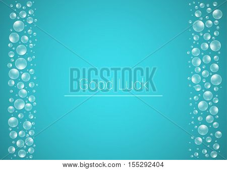 Water Drops On Blue Background With Good Luck Text