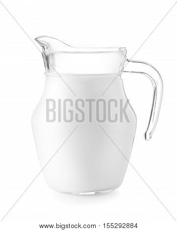 Pitcher of milk isolated on white. With clipping path. Glass jug of milk. Jug of milk isolated on white background
