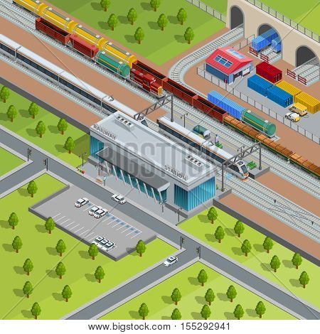 Modern suburban railway station with passing passenger trains goods depot and freight transport isometric poster vector illustration