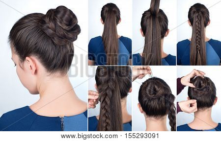 Hairstyle tutorial elegant bun with braid. Simple hairstyle twisted bun with plait tutorial. Hairstyle tutorial for long hair. Hairstyle bun