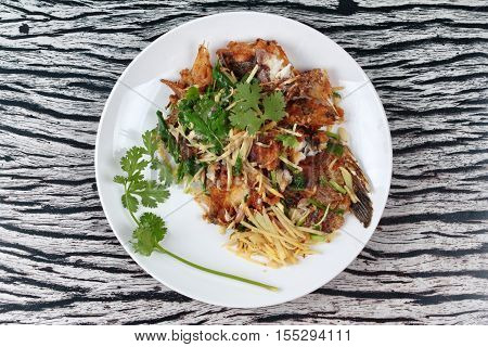 Thai Food, Fried Ginger With Tilapia Fish  (call Pla Nil Pad Khing In Thai)