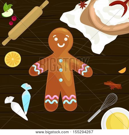 process of preparing Christmas treats and sweets on a wooden kitchen table. Gingerbread man and ingredients for cooking flour, yatsa, spices vector illustration