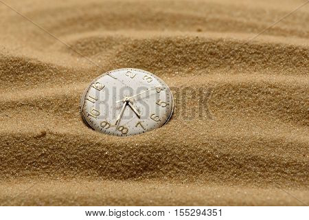 Old Broken Watch On A Sand Background