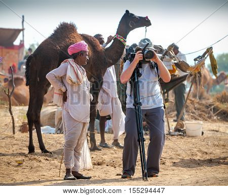 Photographer Take Pictures At The Pushkar Fair, India