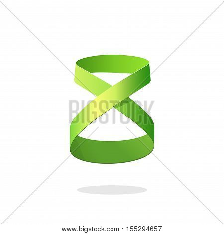 Abstract green loop ribbon logo element design isolated on white background, idea of infinity, eternity or endless symbol, creative geometric looped strip