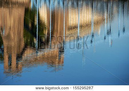 reflection of Bridge in River Odra, Wroclaw Poland, Eastern Europe