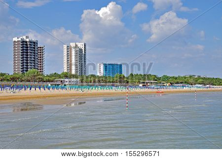 Beach and Village of Lignano Sabbiadoro at adriatic Sea,Venetian Riviera,Italy