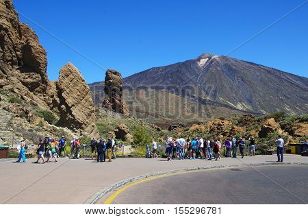 Canary Island Tenerife; Spain -15.05.2016 - Parque Nacional del Teide. Teide has the highest mountain peak of Spain and the third largest volcano in the wolrd from its base.