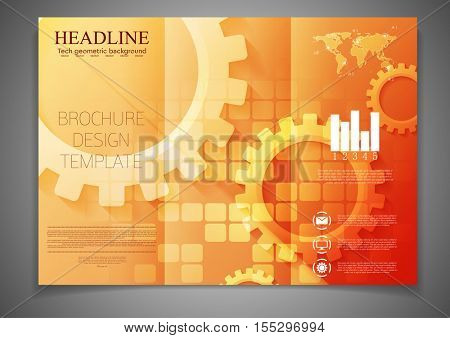 Tri-fold technology brochure design template with gears. Abstract vector tech flyer background